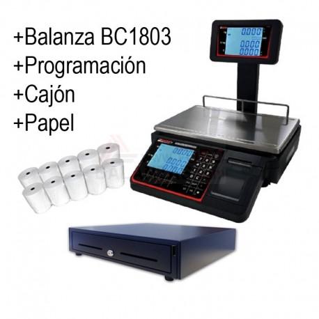 Pack Balanza BC1803T 15/30kg + Cajon + Papel