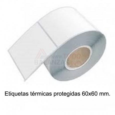 Caja 14.000 etiquetas protegidas termicas 60x60mm para balanza o etiquetadora